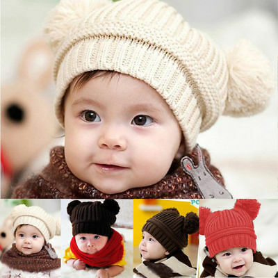 New Warm Hat Winter Hood  Cute Baby Toddler Girls Boys Knitted Cap