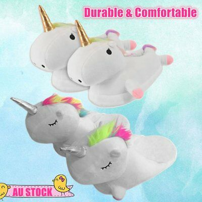 Unicorn Warm Slippers Winter Comfortable PP Cotton Plush Home Cartoon Shoes O5