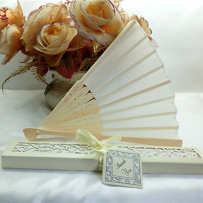 Bridal Chinese Bamboo Silk Hand Fan Wedding Favors Guests Gifts Beige