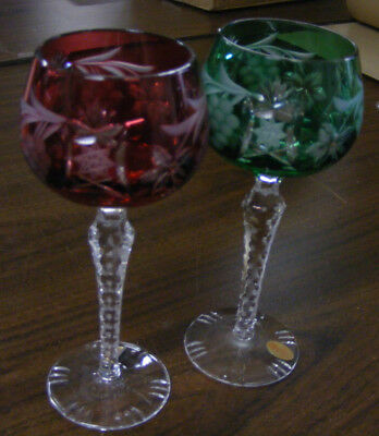 Two Dresden coloured crystal glasses