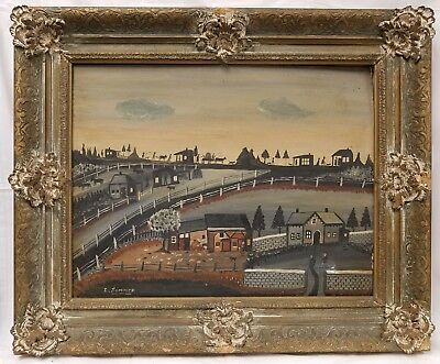 Original Antique American Folk Art Landscape Painting by Grandpa Isador Sommer