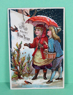 "Adorable Antique ""A Happy New Year"" Victorian Trade Greeting Card"