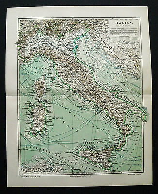 1897 ANTICA.STAMPA GEOGRAFICA * ITALIA - ITALY *Meyers