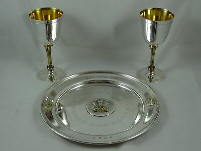 QUALITY solid silver PAIR OF WINE GOBLETS AND PLATE, 1981, 734gm