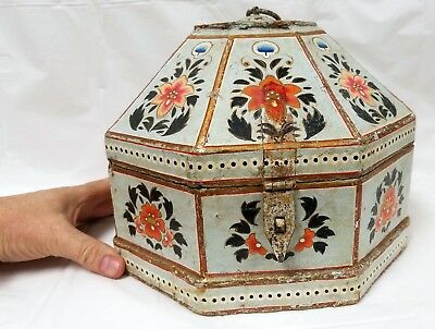 Antique PERSIAN Hand Painted Wood or Paper Mache' Box