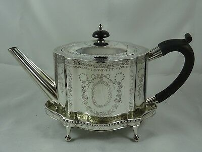 SUPERB, solid silver TEA POT on STAND, 1939, 936gm