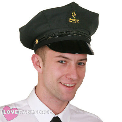 Mens Chauffeur Peaked Hat Limo Taxi Driver Adult Fancy Dress Costume Accessory