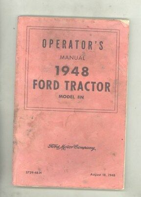 1948 Ford 8N Tractor Operator's Manual 8/18/48 wy8985