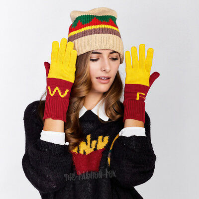 Nwt $110 Wildfox Knit Burger Beanie Hat & Fries Gloves Fast Food Super Size Set