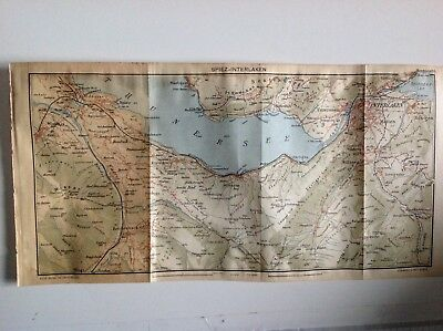 Spiez-interlaken 1923 Old Vintage Map Plan Chart Switzerland Art