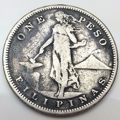 1908 Philippines One Peso 900 Silver Coin Fire Damage C821
