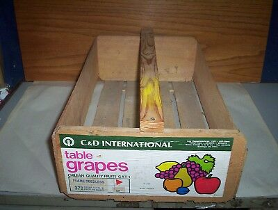 Vintage Wooden Fruit Shipping Crate for Table Grapes Santiago Chile With Handle
