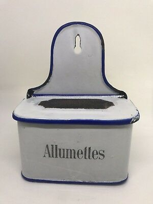 Antique French Allumettes White & Blue Enamel Match Box Safe Holder Wall Mount