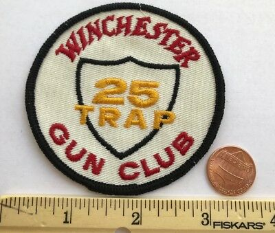 """Vintage*winchester Gun Club 25 Trap*embroidered Sew On Firearms Patch*3"""""""