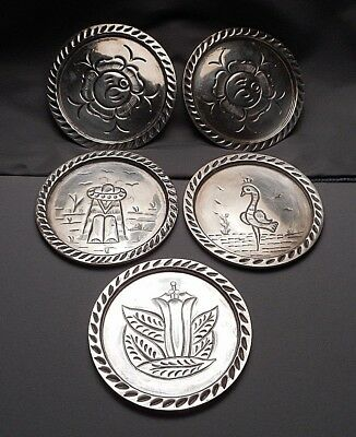 Set of 5 Vintage Sanborn's Mexican Sterling Silver Coasters w/ Engraved Designs
