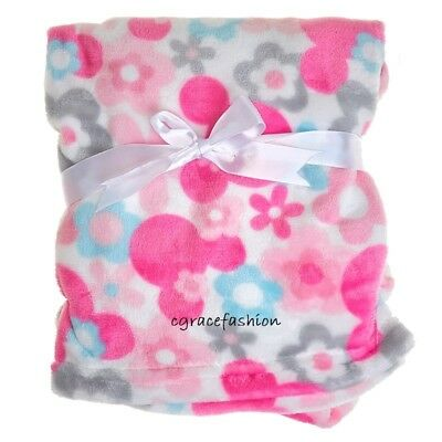 Disney Minnie Mouse Baby Girl Layette Flowers Floral Fleece Blanket Shower Gift