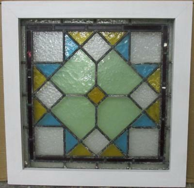"OLD ENGLISH LEADED STAINED GLASS WINDOW Beautiful Geometric 21.25"" x 21.5"""