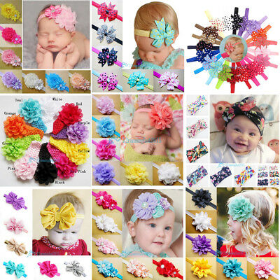 6/10/12/20pcs Kid Baby Girl Toddler Cute Chiffon Lace Flower Headband Hair Band