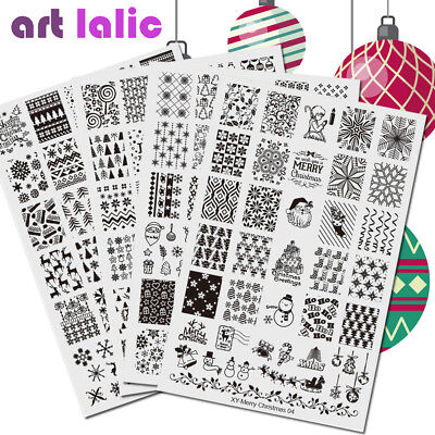 New Year Nail Art Stamping Plate Lace Flower Christmas Stickers Template Imagine