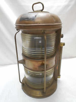 "Vintage Copper Ship's Light ""MAST HEAD LIGHT"" Lamp Double Lamp Japanese  #49"