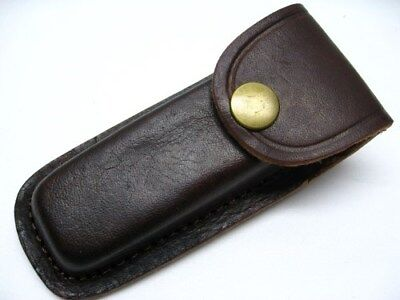 "BROWN LEATHER Belt Pouch SHEATH For Folding Knife or Tool Up to 4"" PA33234 New!"
