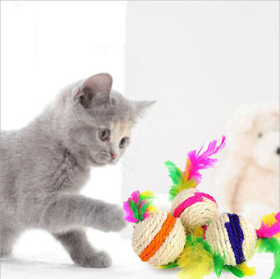 3pcs Sisal Rope Feather Ball Teaser Scratch Chew Play Toy For Pet Cat Kitten
