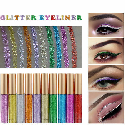 10Color*Waterproof Shimmer Eyeshadow Glitter Liquid Eyeliner Metallic Cosmetic