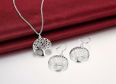 cute Charms Tree 925 Sterling Silver Fashion wedding Women earring necklace set