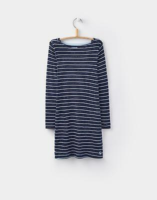 Joules Marnie Girls Rib Long Sleeved Dress 3-12yr in French Navy Stripe