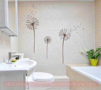 Dandelions Flower Vinyl Stickers Wall Art Decals For Home Decor Floral Set of 3