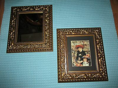 Vtg Ornate Wall Picture Frames~Mirror & Renoir Print/Litho ~ Garden of Praise