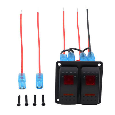 12V 5 PIN LED 2-Gang Rocker Toggle Switch Marine Boat Car ON-OFF Switches