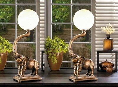 Set of 2 Trumpeting Elephant with White Globe Figural Table Lamps