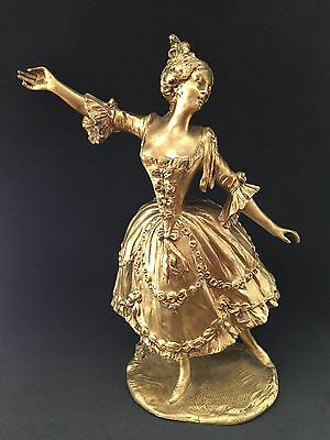 Antique Bronze Sculpture Lady Woman Dancer Ormolu French Singed