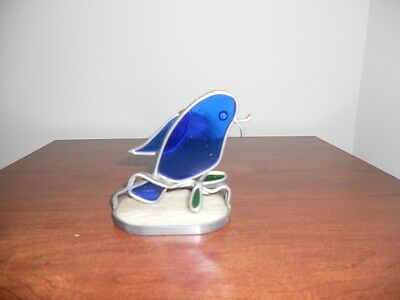 Vintage Blue Bird Stained Glass on stand