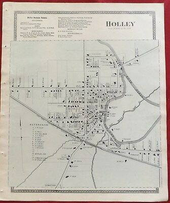 1875 Village of Holley Orleans County NY Map Atlas Beers Original