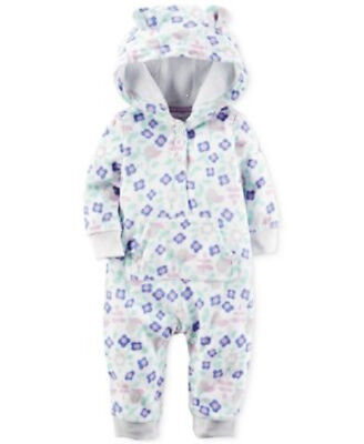 Carters Baby Girls Floral-Print One piece, White, brand new, 18 mths