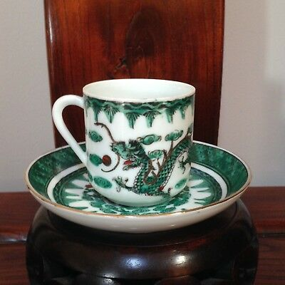 Vintage Chinese Porcelain Tea Cup & Saucer Deco in HongKong Excellent Condition
