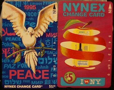 Vintage 1994 I LOVE NY, 1995 PEACE New York Telephone NYNEX Phone Change Card