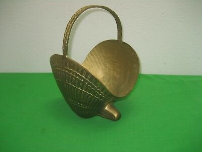 Vintage Solid Brass Korea Clam Shell Flower Basket Planter with Handle