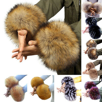 Women Warm Winter Windproof Cuffs Set Bracelet Fur Oversleeve Wristbands Sunligh