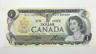 1973 Uncirculated 1 One Dollar Crow Bouey Canadian Banknote C833