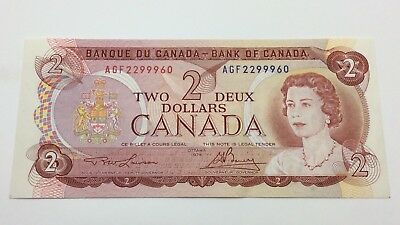 1974 Canada Uncirculated Two 2 Dollar Canadian AGF Prefix Banknote C843