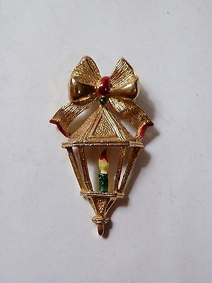 Signed Gerrys Gold Tone Enamel Lantern Candle Bow Christmas Brooch Pin