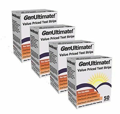 GenUltimate! Blood Glucose Strips 200 count- 4boxes of 50 New EXP 09/2020