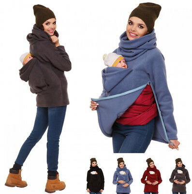 3-in-1 Front/Back Babywearing Carrier Jacket Jumper Kangaroo Fleece Pullover