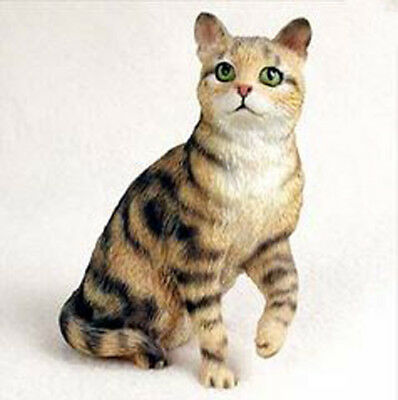 SHORTHAIRED BROWN TABBY CAT Figurine Statue Hand Painted Resin Gift