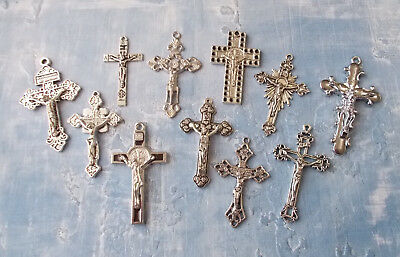 Lot of 6 Antique Gold Tone Crucifies  ITALY Rosary Makings/Pendants (set J33)
