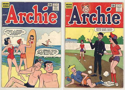1963 ARCHIE #140 & #141 comic books with SURFBOARD and BASEBALL covers