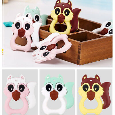 Baby Silicone Squirrel Teether Teething Pendant Necklace Chew Toy NEW 2017